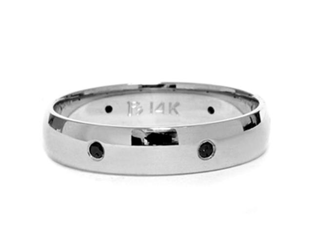 14K White Gold Black Diamond High Polished Ring Band