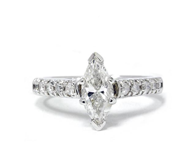 Marquise 1 1/5 Carat Enhanced Diamond Engagement Accent Ring 14K White Gold