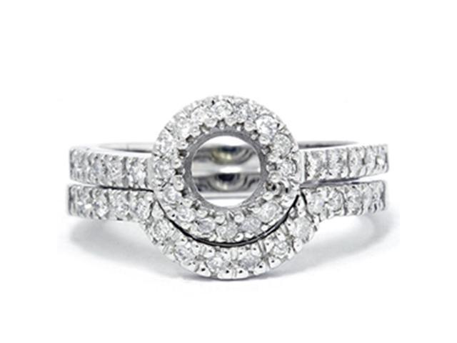 1/2ct White Gold Diamond Engagement Bridal Set Setting 14K White Gold