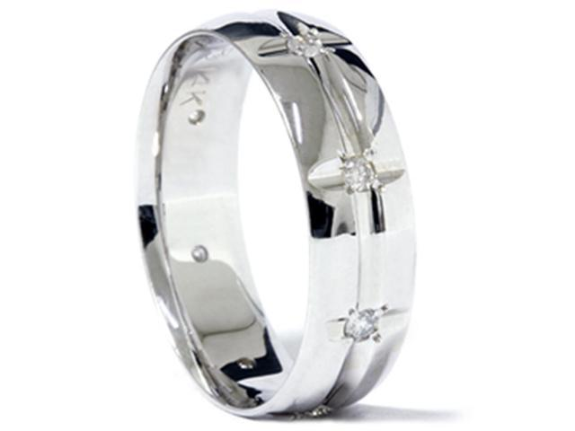 Mens 1/5ct Diamond Wedding Polished Wedding Ring Band
