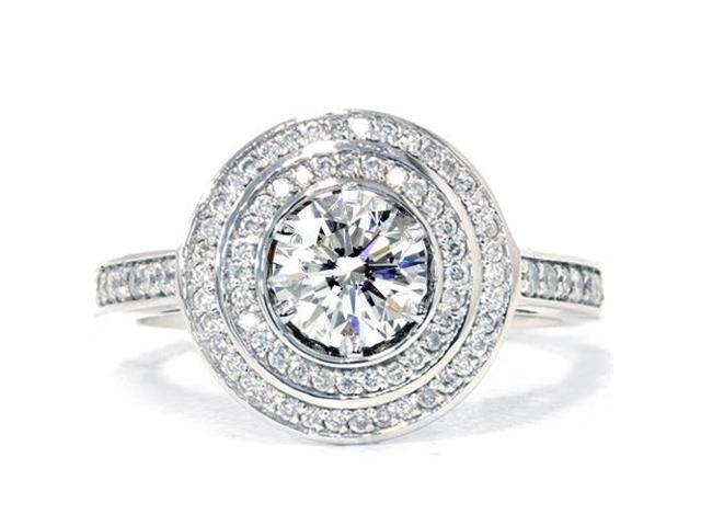 1ct Double Halo Diamond Engagement Ring Soild 14K White Gold