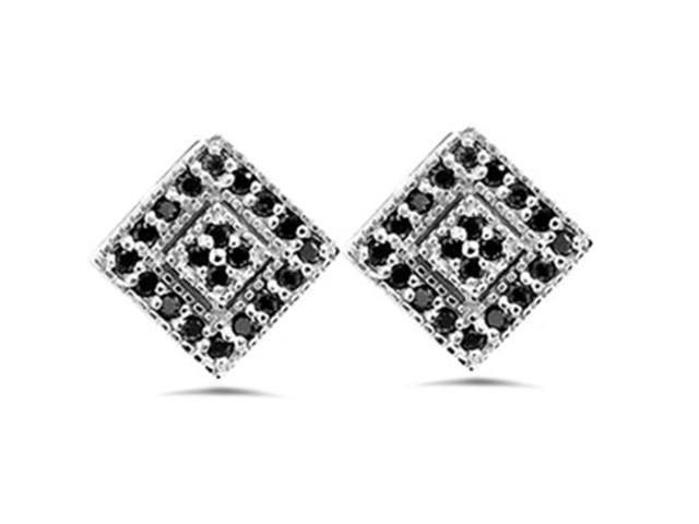 1/3ct Pave Black Diamond Studs 10K White Gold