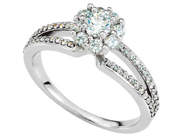 3/4ct Diamond Pave Engagement Ring 14K White Gold