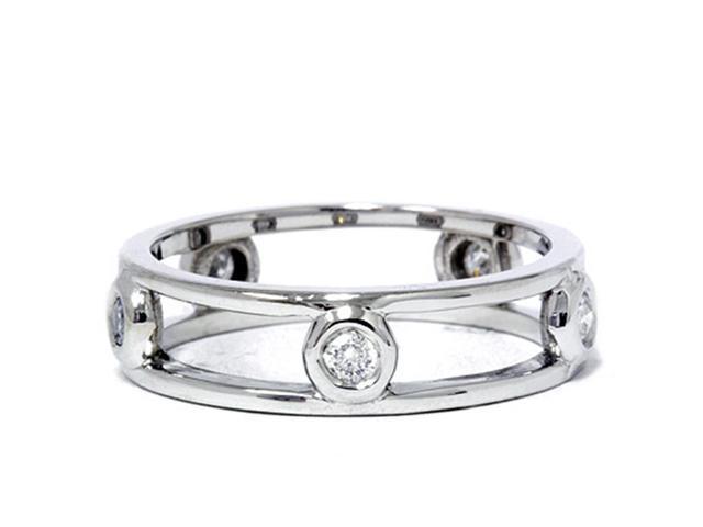 1/3ct Bezel Diamond Eternity Ring 14K White Gold