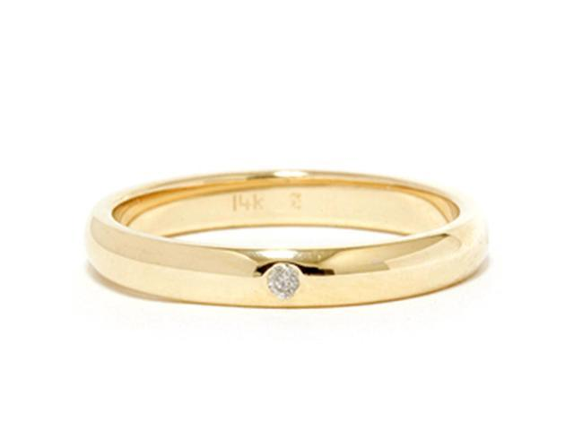 Bezel Solitaire Diamond Engagement Promise Gold Ring