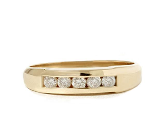 1/2ct Mens 14K Yellow Gold Round Diamond Wedding Ring