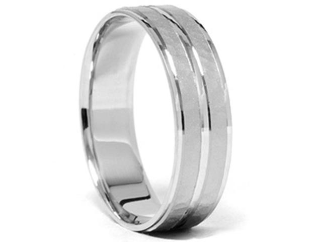 Mens 14K White Gold Hammered Comfort Wedding Band Ring