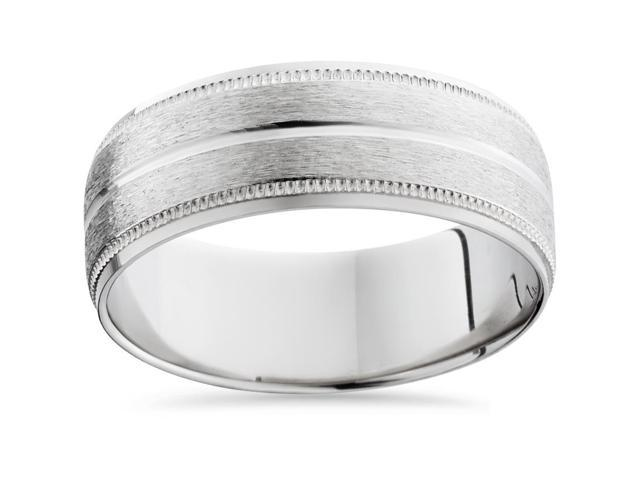Men's 8mm Palladium Satin Wedding Band Bands Mens Rings