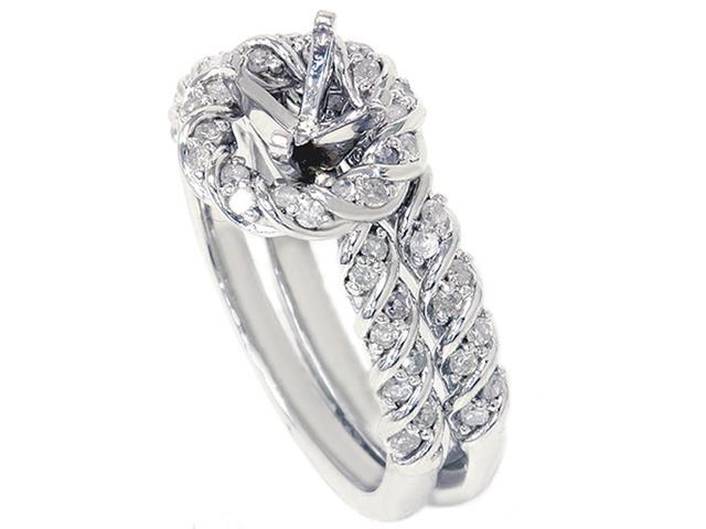 5/8ct Halo Bridal Ring Setting Solid 14K White Gold