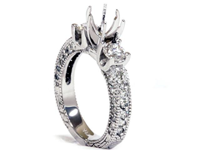 1 1/8ct Vintage Diamond Engagement Ring with Accent Diamonds Mount14K White Gold
