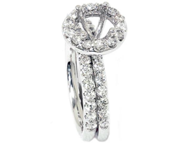 7/8ct Womens Diamond Bridal Engagement Ring Setting 14K White Gold Mounting