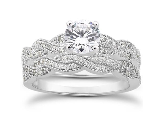 5/8ct Pave Diamond Infinity Engagement Bridal Ring Set Vintage White Gold 14k