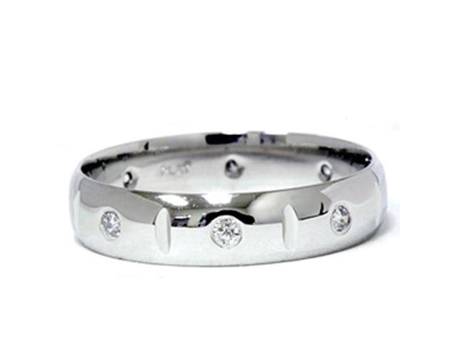 Mens 950 Platinum Diamond Polished Wedding Ring Band