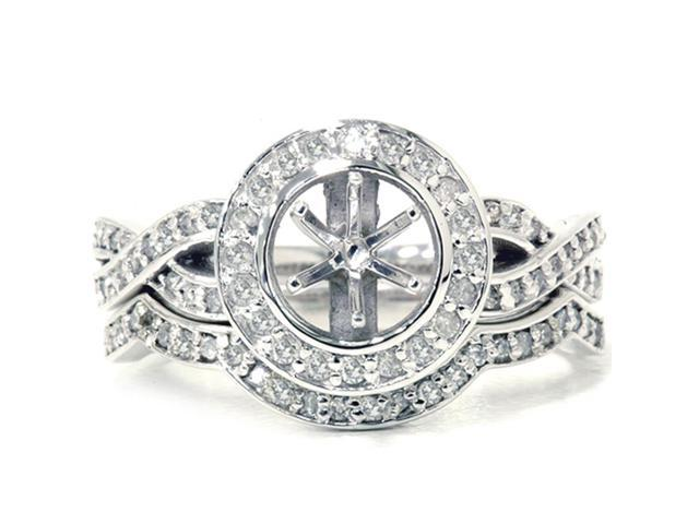 5/8ct Diamond Halo Engagement Bridal Ring Set Solid 14k White Gold
