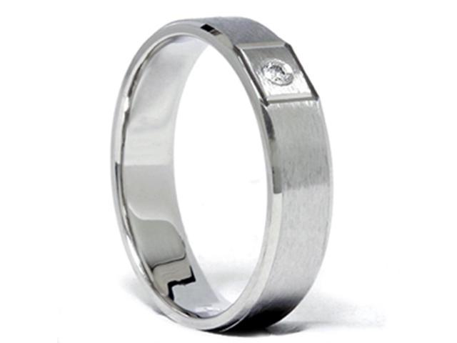 Mens Diamond Solitaire Wedding Band Solid 14K White Gold