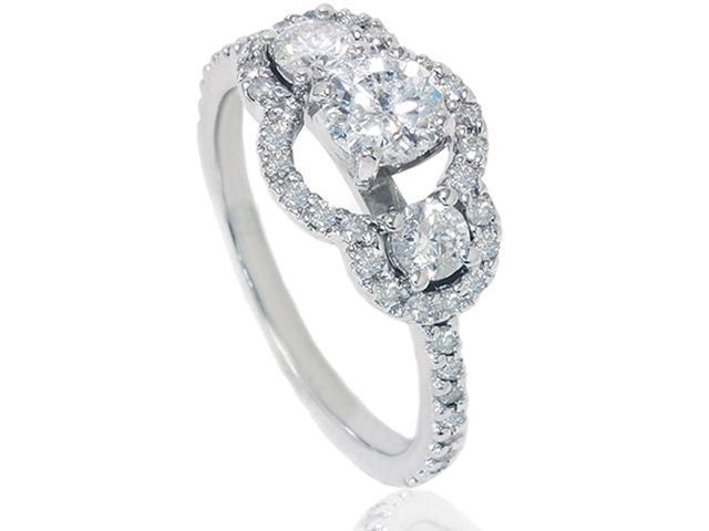 1 1/4ct Diamond Three Stone Engagement Ring 14K White Gold