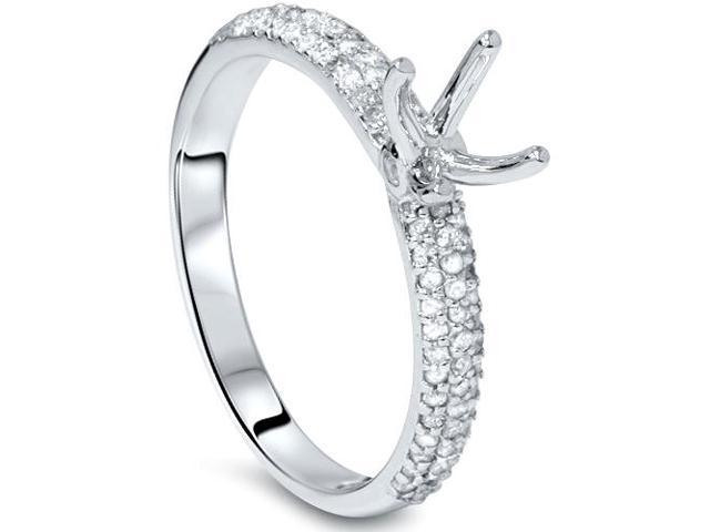 3/8ct Pave Diamond Engagement Ring Setting White Gold