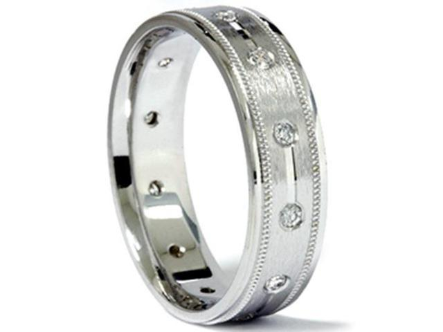 Mens 1/3ct SI Round Diamond Comfort Fit Brushed Wedding Band