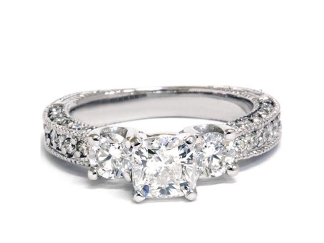 2 1/5ct Vintage Three Stone Diamond Ring 14K White Gold