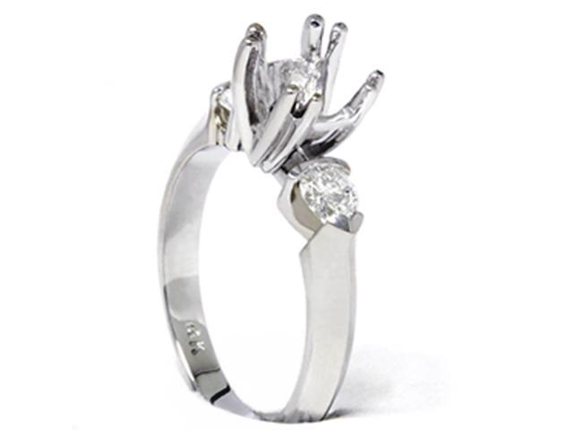 Pear Shape Diamond Engagement Mount Ring Setting 14K White Gold