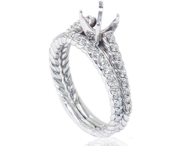 5/8ct Braided Cathedral Pave Ring Set 14K White Gold