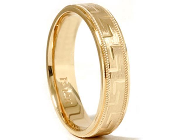 Hand Carved Wedding Band 14K Yellow Gold