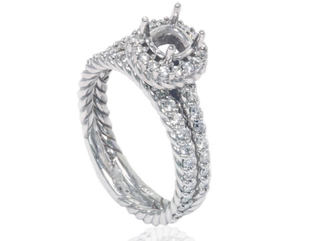 7/8ct Braided Engagement Bridal Ring Set Solid 14K White Gold