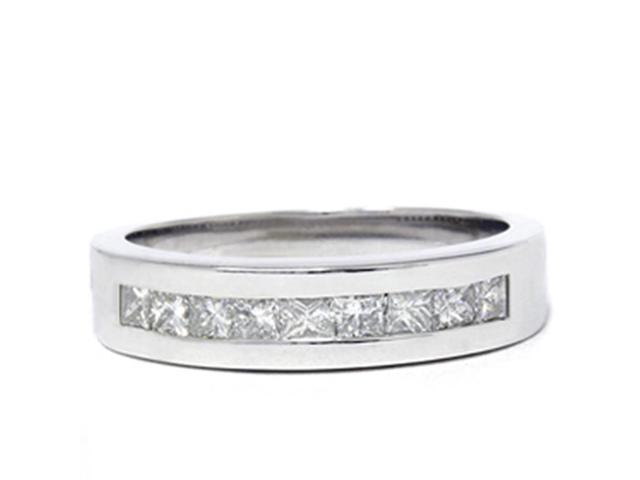 1ct Princess Cut Diamond Wedding Mens 14K White Gold Ring