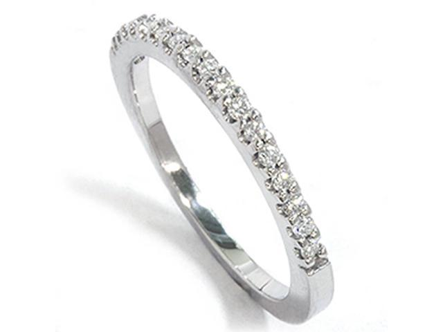 14K White Gold Lab Created Diamond Wedding Anniversary Ring Womens Stackable