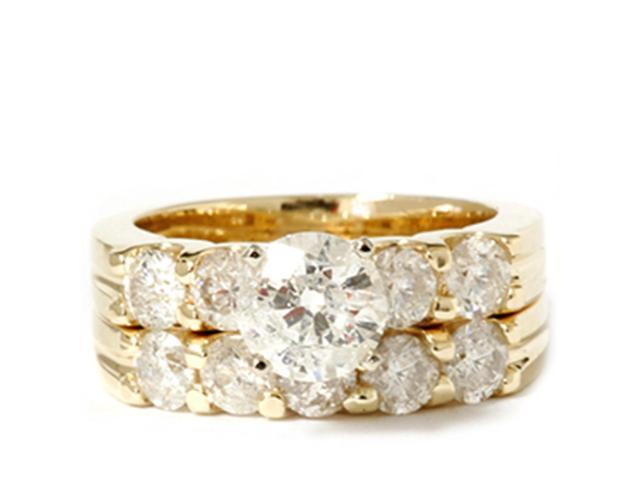 Yellow Gold 2 3/4ct Diamond Accent Engagement Ring Set