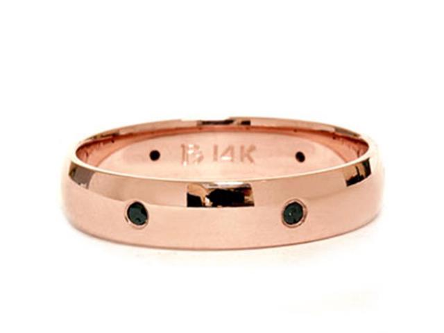 14K Pink Rose Gold Black Diamond Wedding Eternity Ring