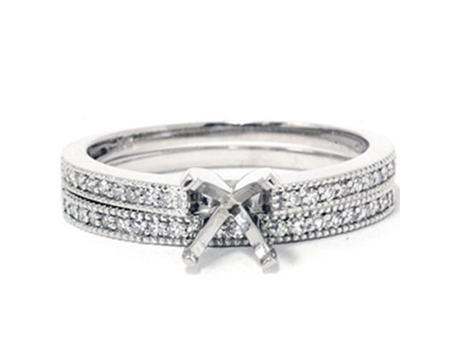 1/4CT Diamond Engagement Brial Ring Set  Semi Mount 14K White Gold