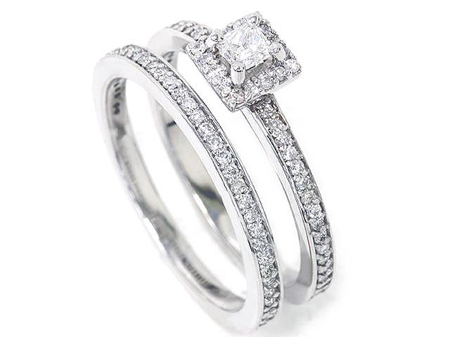 5/8ct Diamond Halo Enagament Ring Bridal Set 14K White Gold