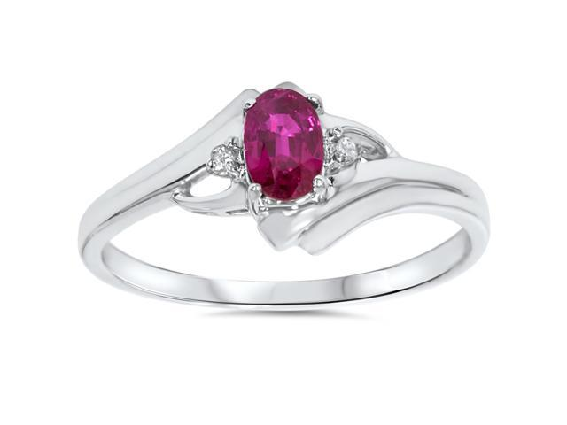 5/8ct Oval Ruby & Diamond Ring 14K White Gold
