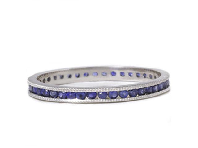 1/2ct Channel Set Sapphire Eternity Ring 14K White Gold