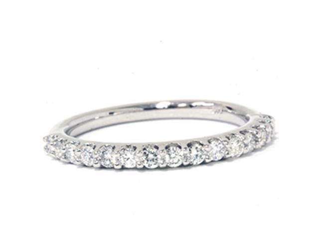 3/8ct Half Diamond  Eternity Ring Solid 14K White Gold