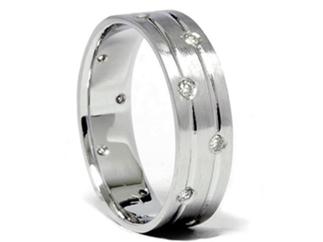 Mens White Gold Diamond Comfort Fit Wedding Ring Band