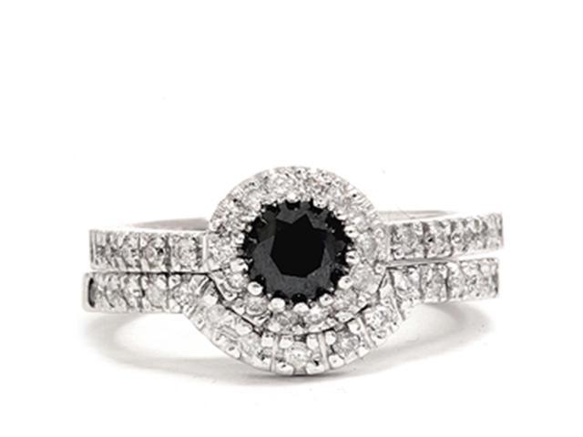 Women's 7/8ct Treated Black Pave Halo Diamond Engagement Ring Set 14K White Gold