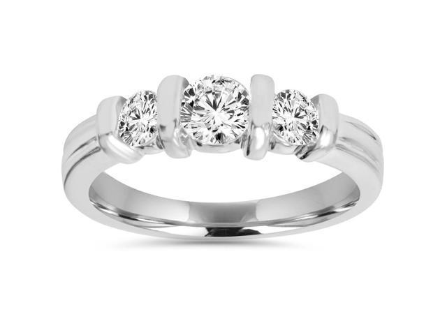 1ct Three Stone Diamond Engagement ing Bar Set 14K White Gold