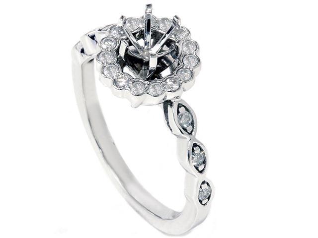 Diamond Halo Engagement Ring Setting 1/4ct Semi Mount Unique Vintage Accents 14k