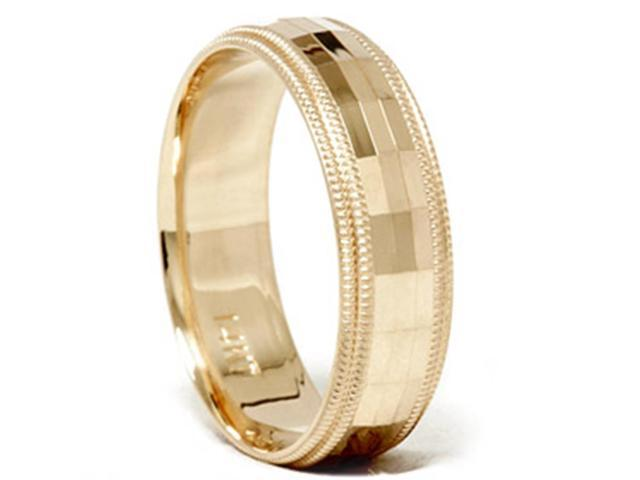 Mens 14K Gold Diamond Facet Cut Wedding Ring Band New