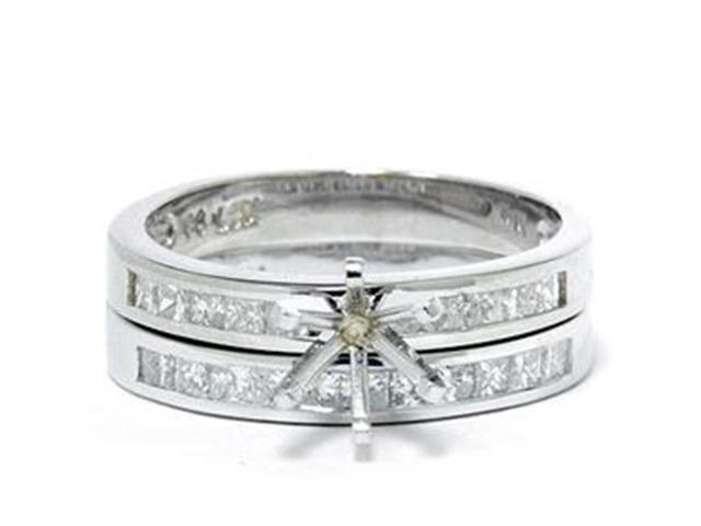 1ct Princess Cut Diamond Engagement Setting Set