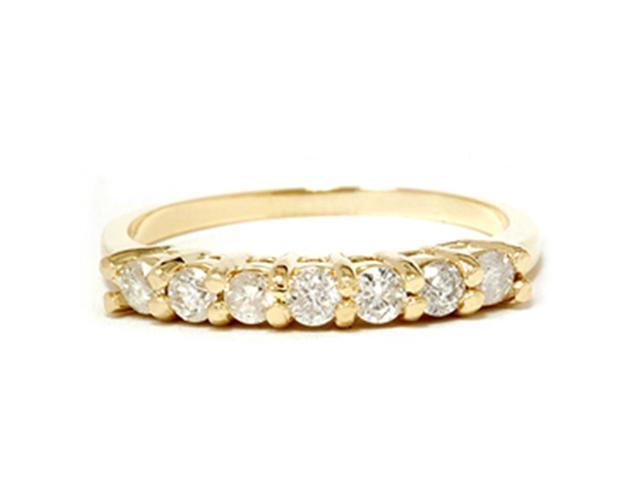 5/8CT Diamond Wedding Anniversary Ring Solid 14K Yellow Gold
