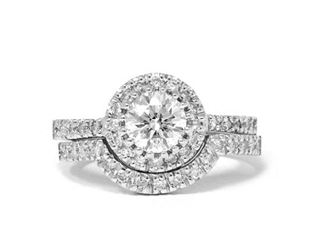 1 1/2 Carat Enhanced Diamond Halo Engagement Wedding Ring Set Matching Band 14k