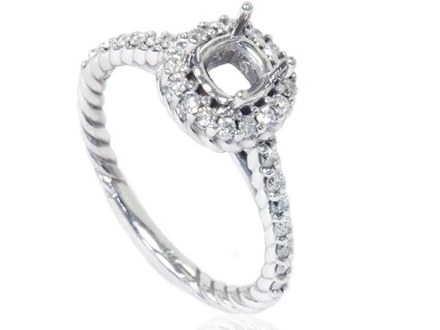 5/8ct Braided Engagement Ring Setting Solid 14K White Gold