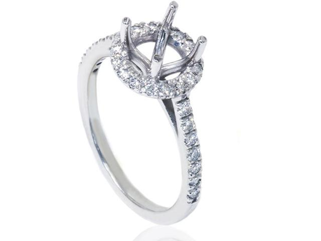 1/3ct Halo Diamond Ring Setting 14K White Gold