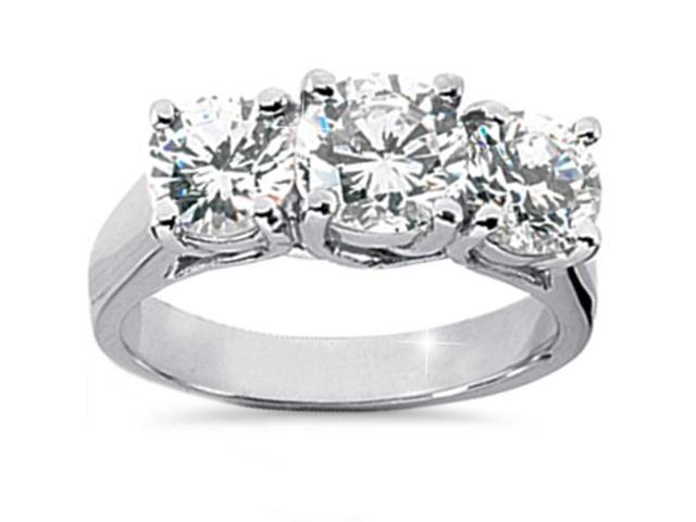 2 1/2ct Three Stone HUGE Diamond Engagement 14K White Gold