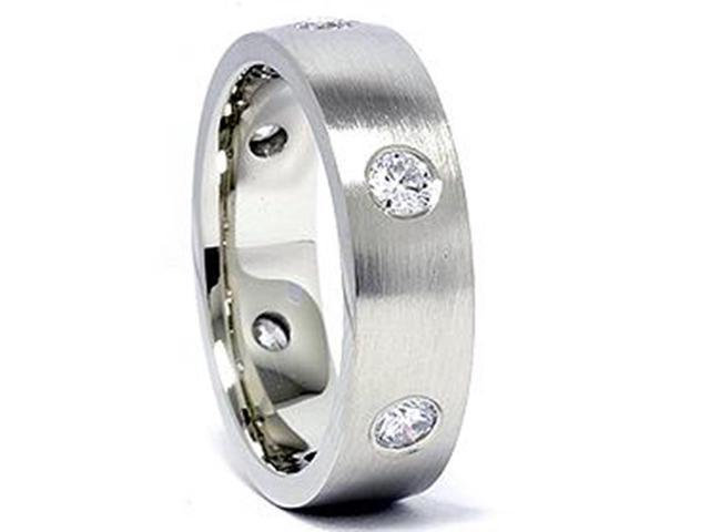 Mens 14K White Gold 3/4ct Diamond Wedding Ring Band New