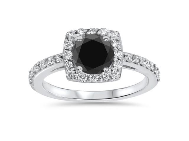 SI 1 3/8ct Treated Diamond & Black Engagement Ring 14K White Gold