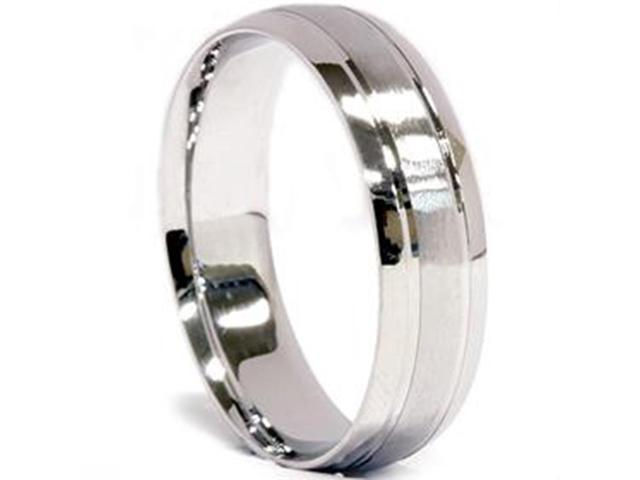 Mens 950 Platinum 6mm Brushed Comfort Fit Wedding Band